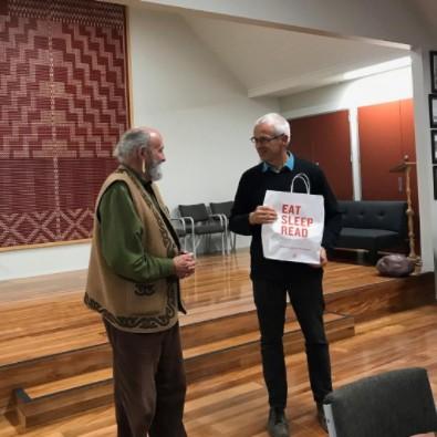 Departing Board Members Teoti Jardine and Mick Abbott, at Arowhenua Marae.