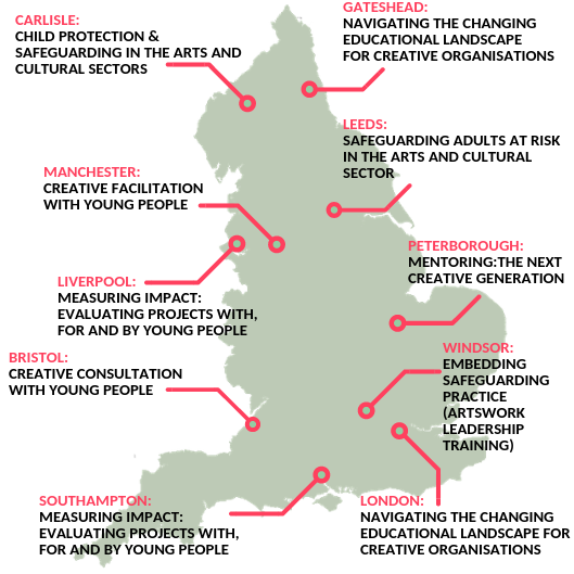 Map of England showing which courses are taking place in which cities this autumn