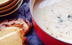 Cauliflower soup in a pot