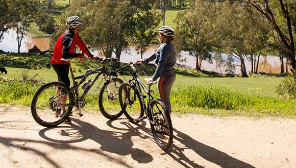 Two bike riders on Rail Trail