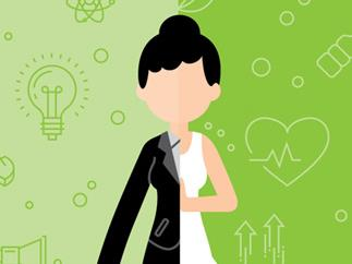 Cartoon of woman dressed half in a suit and half in active wear on a green background
