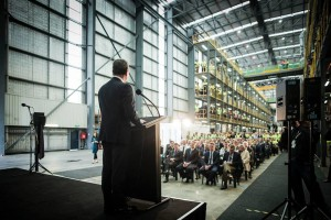 Minister for Defence Industry Christopher Pyne opens the upgraded ASC West facility. Credit: ASC
