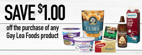 Photo of coupon to save 1 dollar on any Gay Lea Foods product.