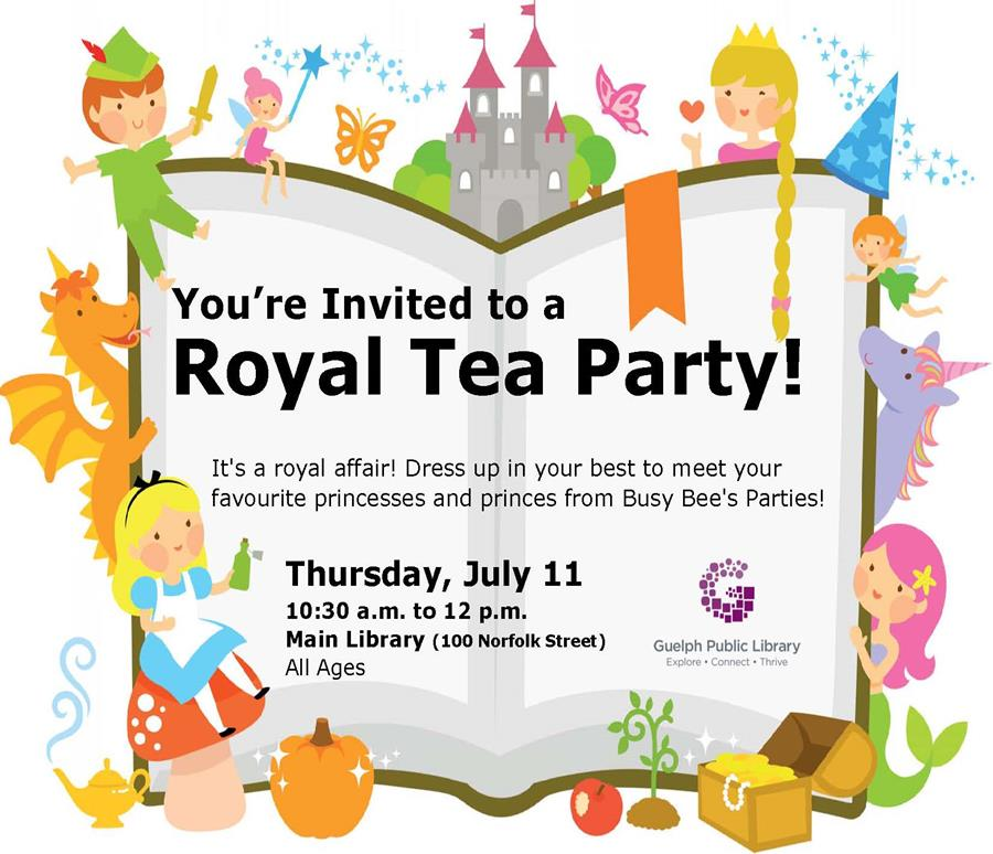 It's a royal affair at the Main Library! Dress in your best and join us to meet your favourite princesses and princes from Busy Bee's parties! Thursday July 11, 10:30 am, all ages.