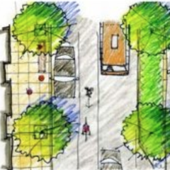 A planning illustration of a city sidewalk.