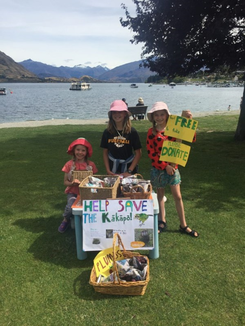 Kids raising money for KRP down Wanaka lakefront