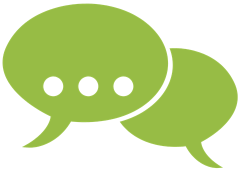 A graphic of two chat bubbles
