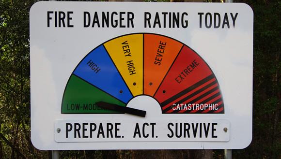 Fire danger rating roadside sign