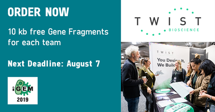 ORDER NOW: 10 kb free Gene Fragments for each team. Next Deadline: August 7
