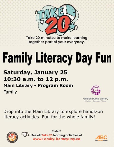 Drop in to the Main Library on Saturday January 25 from 10:30 a.m. to noon to explore hands on literacy activities. Fun for the whole family. All ages. No registration required.