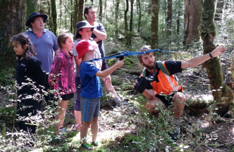 Adam Ross showing the school kids how to use the Yagi aerial