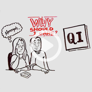 "Couple sitting at desk uninterested, asking ""Why should I care about QI?"""