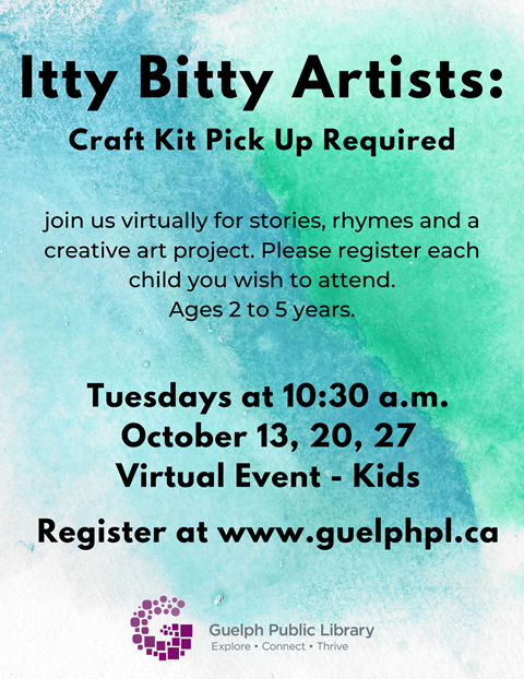 Welcome to Itty Bitty Artists! Pick up your craft kit at the Scottsdale Branch and then join us virtually for stories, rhymes and a creative art project. Ages 2 to 5 years. Please register each child you wish to attend.