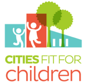 Cities Fit for Children logo: Two children play next to buildings and trees.