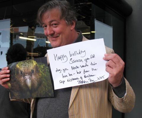 Stephen Fry wishing Sirocco a happy birthday