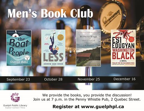 Register for our monthly Men's Book Club that meets at the Pennywhistle Pub. Register for our next meeting on September 23, 2019.
