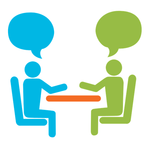 An illustration of two people having a conversation