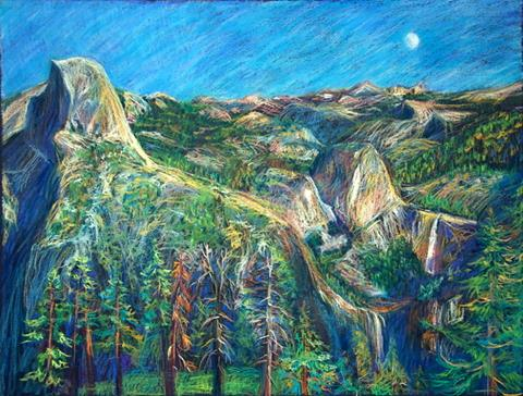 A vibrant pastel illustration of Half Dome and Nevada and Vernal Fall under the moonlight by artist Tsungwei Moo.