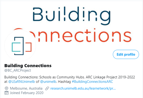 Screenshot of Building Connections Twitter account