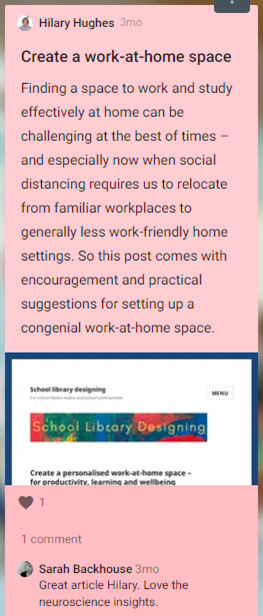 Hilary Hughes shares a post with suggestions for setting up a congenial work-at-home space