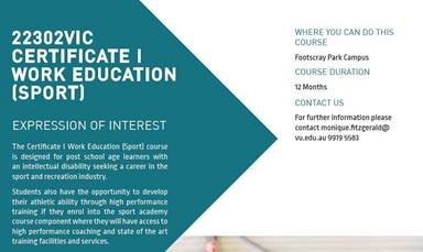 Promotional flyer for the Victoria Polytechnic Certificate I Work Education course