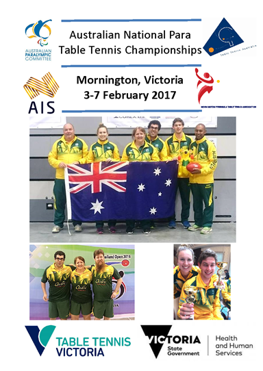 Poster promoting the Australian National Para Table Tennis Championships.