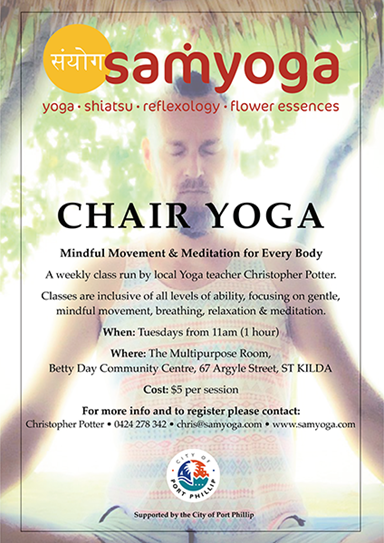 Poster promoting chair yoga for people with disability