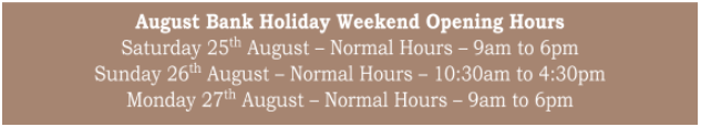 Bury Lane Farm Shop August 2018 Bank Holiday Opening Hours
