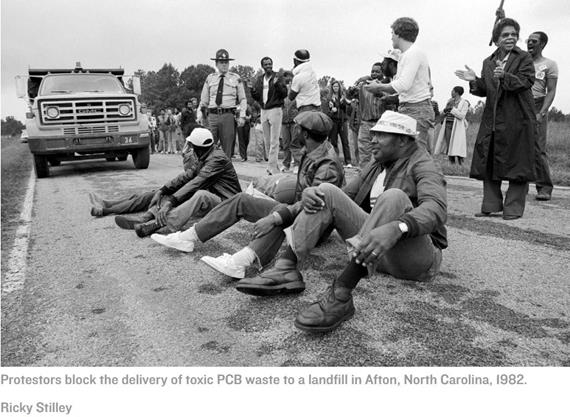 Protesters blocking the delivery of toxic PCB waste to landfill in North Carolina in 1982