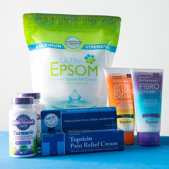 Epsom salt, turmeric supplements and pain relief creams