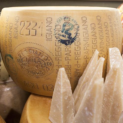 Huge wheels of Parmigiano Reggiano