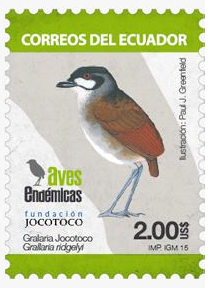 Jocotoco Antpitta stamp. Courtesy of Fundación Jocotoco.