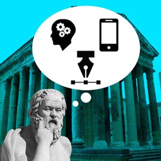 Greek philosopher statue with think bubble of digital icons