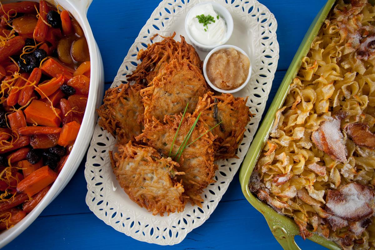tzimmes, latkes and noodle kugel