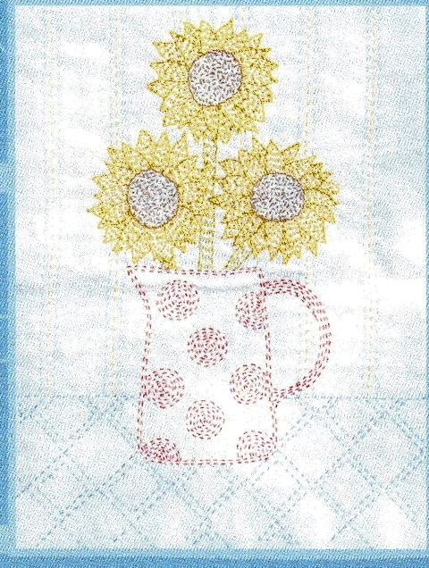 Sunflower Kantha pattern by Angela Daymond