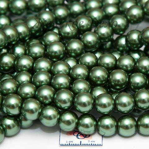 Стеклянный жемчуг зеленого цвета 10 мм арт. 21482