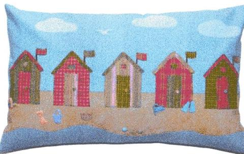 Beach Huts cushion pattern designed by Sue Trangmar