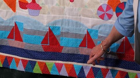 Sail Boats Row of Jennie's Stripy Stripey Story Quilt