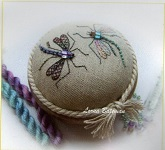 Dragonfly Duo pincushion designed by Lorna Bateman