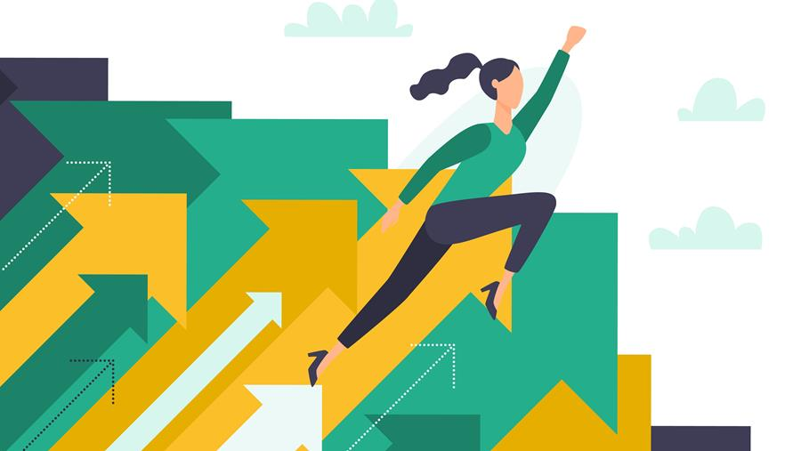 graphic of a woman moving forward with her hands in a superman pose