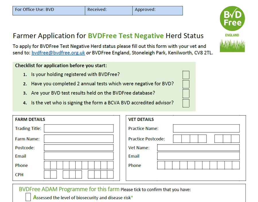 Image of the Test Negative Herd Status Application