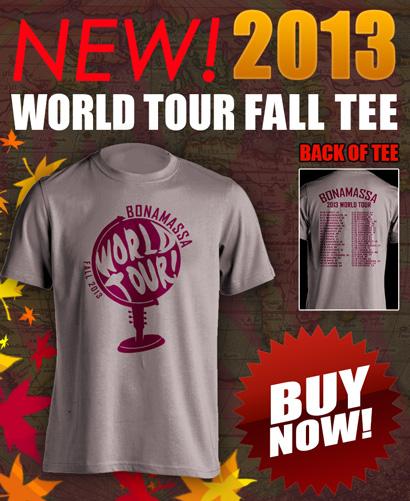 NEW 2013 Joe Bonamassa World Tour Fall tee! Click here to buy now!