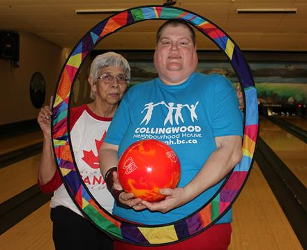 Special Olympics Team Canada bowler Annabelle and coach Nel